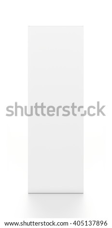 White tall vertical rectangle blank box from front angle. 3D illustration isolated on white background.