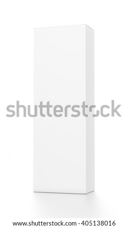 White tall vertical rectangle blank box from front far side angle. 3D illustration isolated on white background. - stock photo