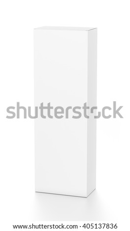 White tall vertical rectangle blank box from top front far side angle. 3D illustration isolated on white background. - stock photo