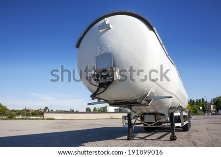 white tank truck - stock photo