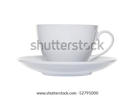 White tea cup and saucer isolated on a white background with clipping path - stock photo