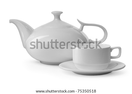 white teacup and teapot on white background - stock photo