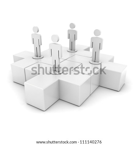 White team on jigsaw puzzles isolated over white background