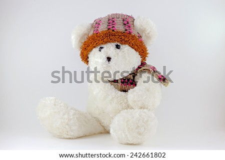 White teddy bear tie a scarf.