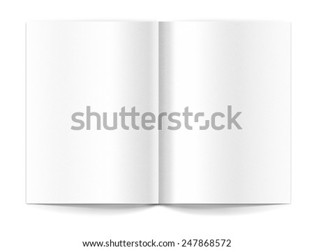 White template booklet spread on white background - stock photo