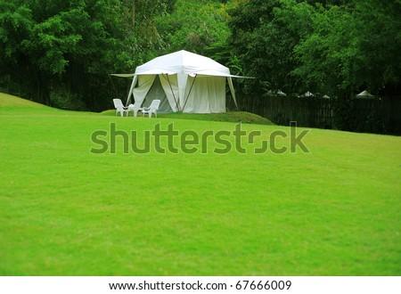 white tent on green grass yard - stock photo