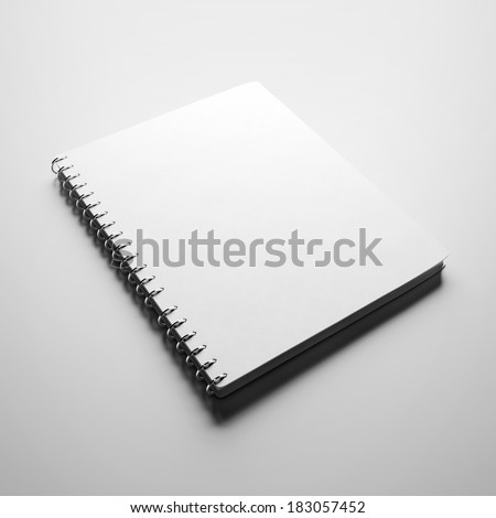 White textbook with blank cover - stock photo