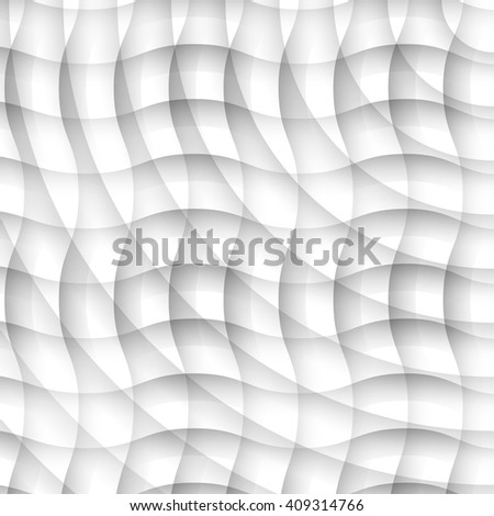 White texture made of waves. Wavy background. Interior wall decoration. 3D raster panel pattern. 3D illustration