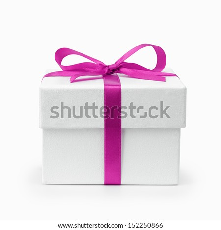 white textured gift box with purple ribbon bow, isolated on white - stock photo