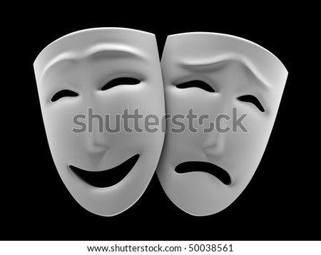 White theatrical masks of a comedy and tragedy