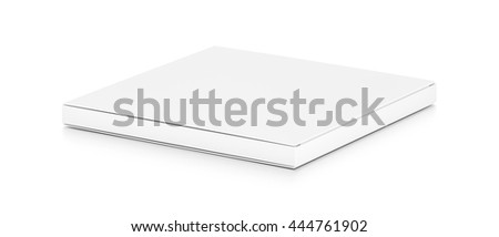 White thin flat horizontal rectangle blank box from side angle. 3D illustration isolated on white background.