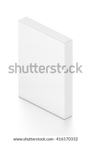 White thin vertical rectangle blank box from isometric angle. 3D illustration isolated on white background.