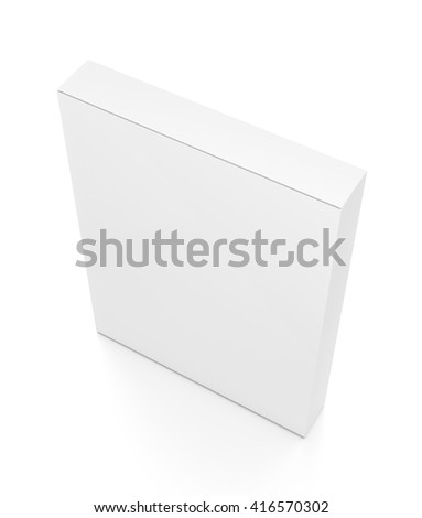 White thin vertical rectangle blank box from top side angle. 3D illustration isolated on white background.
