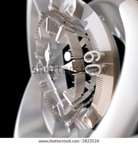 white three-dimensional clock on a black background - stock photo