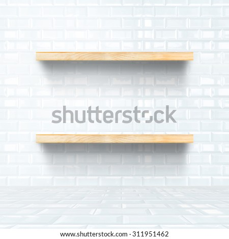 white tile room with wooden shelf, Mock up for display of product. - stock photo