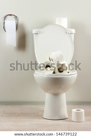 White toilet bowl with toilet paper in a bathroom - stock photo