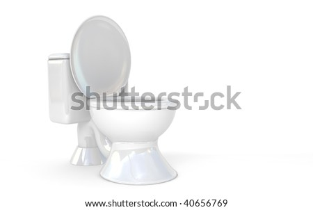 white toilet isolated over white. 3d render - stock photo