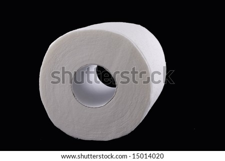 white toilet paper on black background