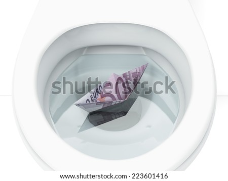 White toilet with boat from euro bill - stock photo