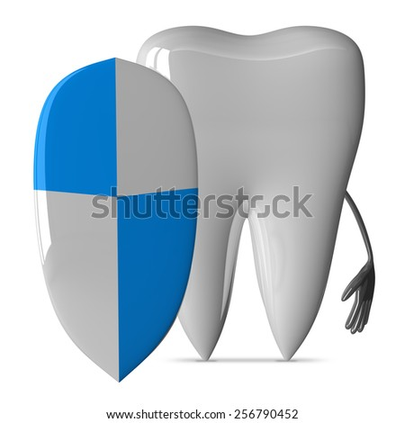 White tooth character with great shield isolated on white background - stock photo