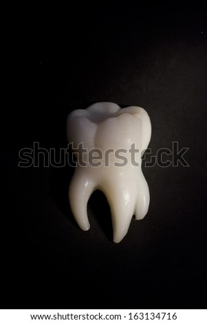 White tooth on a black background - stock photo