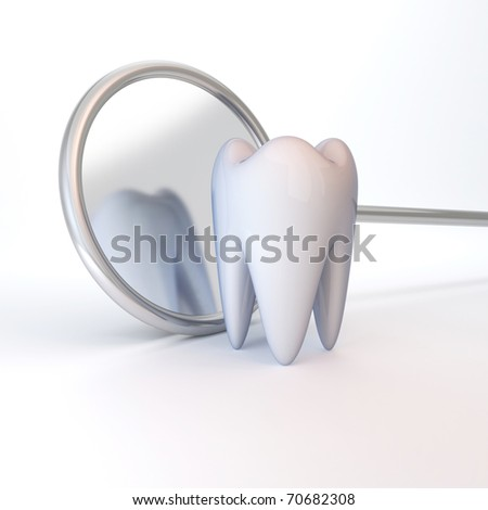 White tooth on a white background. Stomatology