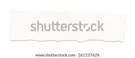 White torn paper, isolated on white background. - stock photo