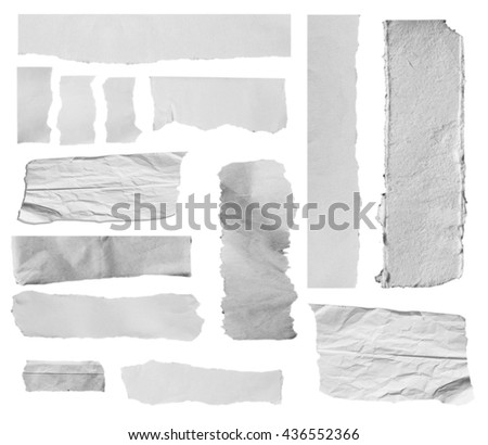 white torn paper isolated over white background with clipping path. - stock photo