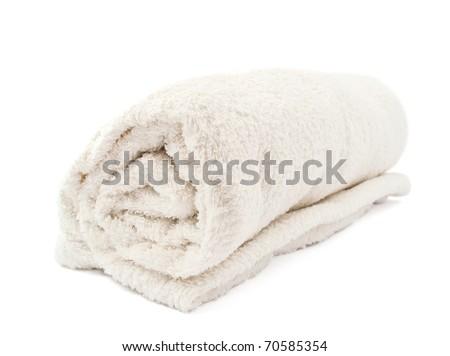white towel on a white background - stock photo