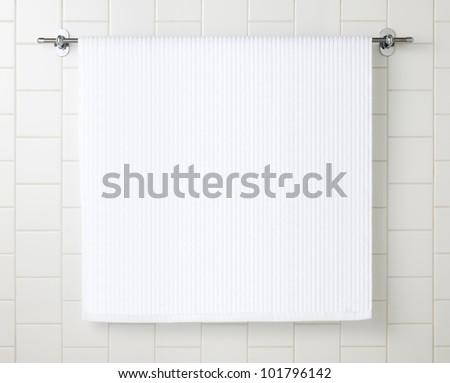 White towel on hanger - stock photo