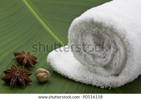 White tower on banana leaf