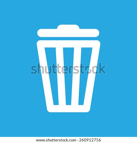 white trash bin icon on a blue background - stock photo