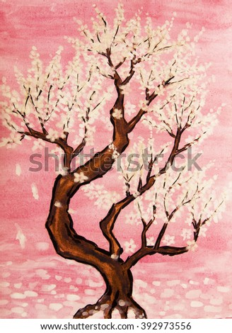 White tree in blossom in pink background, painting, watercolours and white gouache, in traditions of old Chinese painting. - stock photo