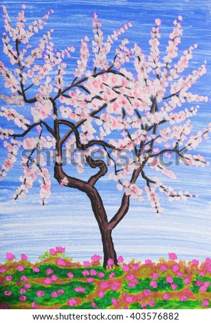 White tree in blossom, painting, acrylic