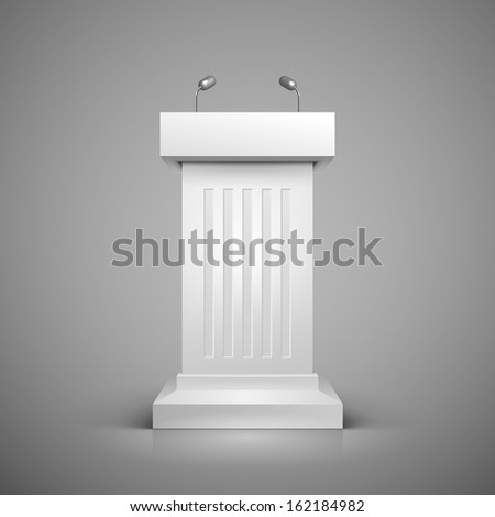 White tribune with microphone template illustration. - stock photo