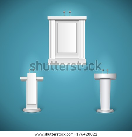 White tribunes with microphone, rostrums.  illustration - stock photo