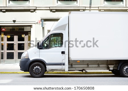 White truck in profile, copy space