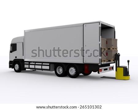 white truck loading - stock photo