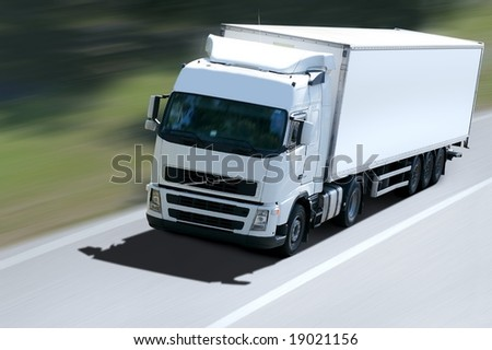 white truck on road - stock photo