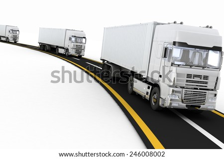 White Trucks on freeway. 3d render illustration. Concept of logistics, delivery and transporting by freight motor transport.  - stock photo