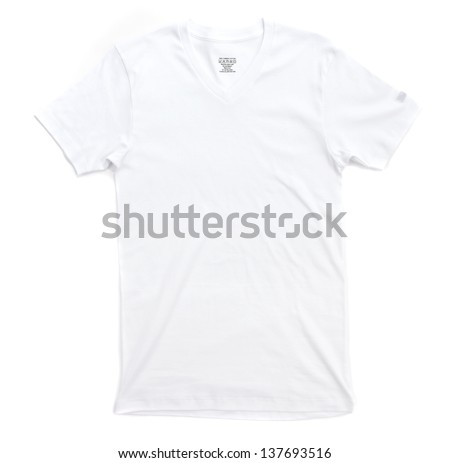 White tshirt template ready for your own graphics. - stock photo