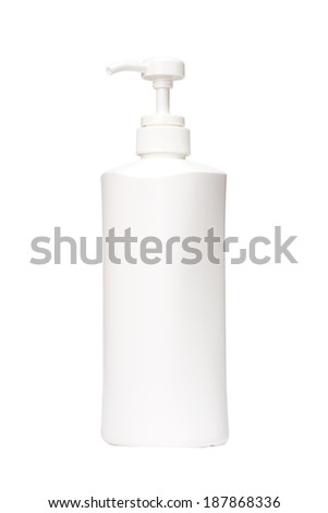 White tube bottle of shampoo, conditioner, Shower Cream, on a white background - stock photo