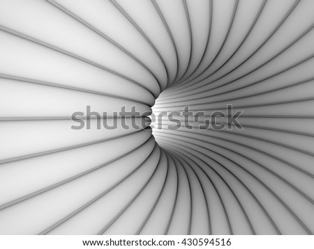 White Tube Hole Tunnel Background. 3d Render Illustration.