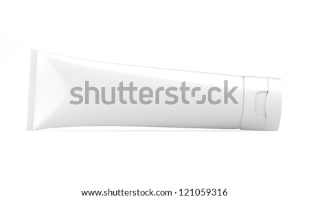 white tube with isolted on white - stock photo