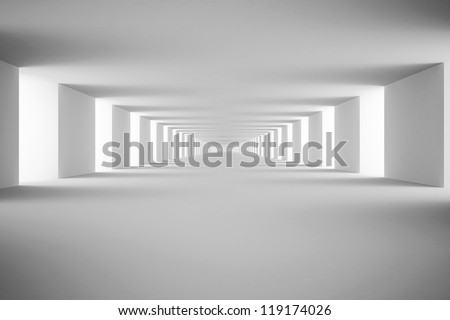 White tunnel. 3d render - stock photo