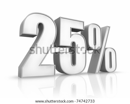 White twenty five percent, isolated on white background. 25% - stock photo