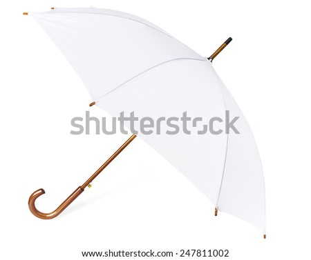 White umbrella isolated on white. - stock photo