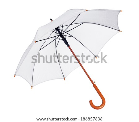 White umbrella / studio photo of opened umbrella - isolated on white background  - stock photo