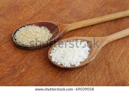 White uncooked rice on wooden background