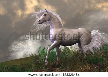 White Unicorn Stallion - Clouds and mist surround a beautiful unicorn stallion with a white coat. - stock photo